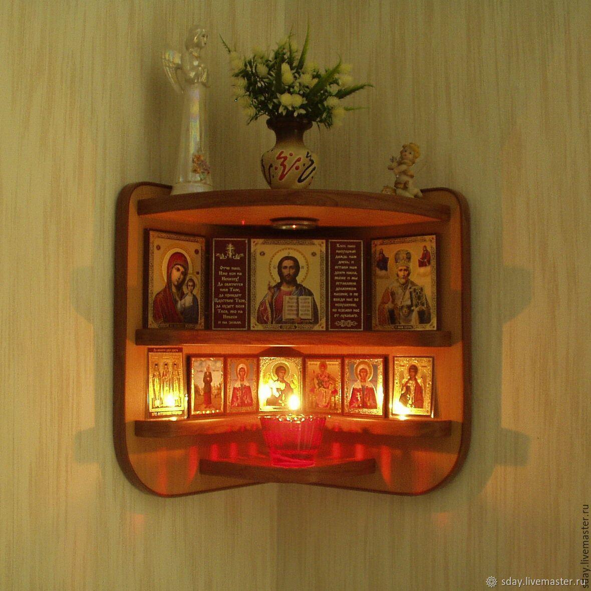 Иконостас угловой (артикул ИУ380-300-265Б) цвет бук Бавария, Полки, Октябрьский, Фото №1