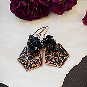 Украшения handmade. Livemaster - original item Copper earrings with black obsidian boho geometric Flower earrings. Handmade.