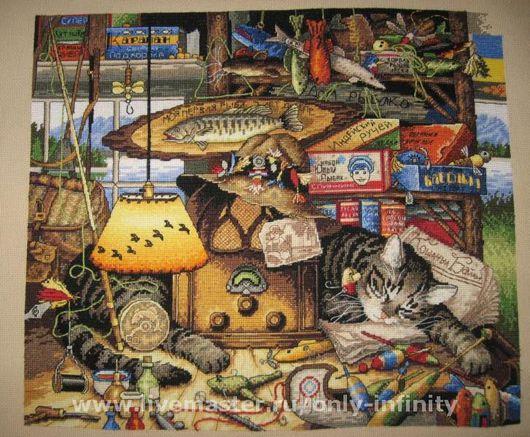 Животные ручной работы. Ярмарка Мастеров - ручная работа. Купить Макс-рыболов. Handmade. Коты, котэ, вышивка, вышивка ручная