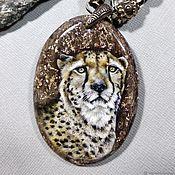 Украшения handmade. Livemaster - original item Pendant: Pendant with lacquer miniature Cheetah. Handmade.