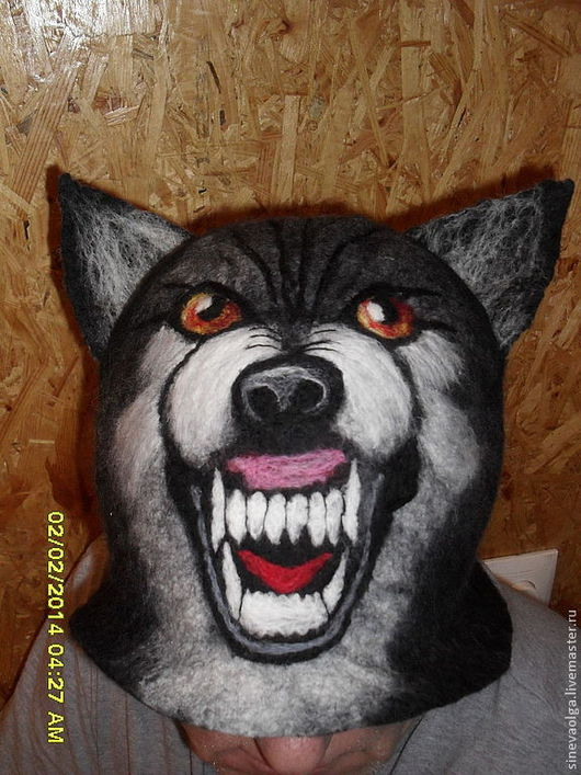 """Банные принадлежности ручной работы. Ярмарка Мастеров - ручная работа. Купить Шапка для бани """"Черный волк"""". Handmade. Черный, животное"""