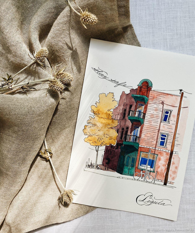 Акварельный скетчинг с каллиграфией, Открытки, Москва,  Фото №1