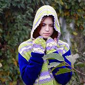 Аксессуары handmade. Livemaster - original item Hooded scarf, Mittens, Warm scarf, Warm kit, Bright outfit, Winter wea. Handmade.