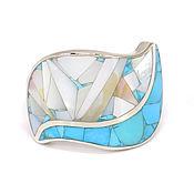 Украшения handmade. Livemaster - original item RING - Turquoise and mother of Pearl. (size 19.5) handmade Ring. Handmade.