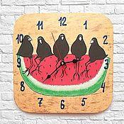 Часы классические ручной работы. Ярмарка Мастеров - ручная работа Часы настенные Вороны на арбузе, часы ручной работы. Handmade.