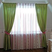 Для дома и интерьера handmade. Livemaster - original item Curtains of pale green cotton for girls with buttons. Handmade.