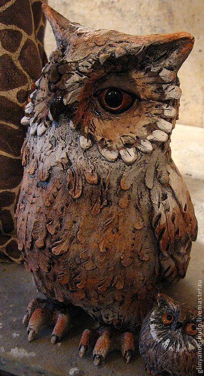 Статуэтки ручной работы. Ярмарка Мастеров - ручная работа. Купить Ночная птица сова. Handmade. Бежевый, сова, подарок, ангобы