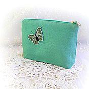 Сумки и аксессуары handmade. Livemaster - original item Cosmetic bag with beaded butterfly gift for woman. Handmade.
