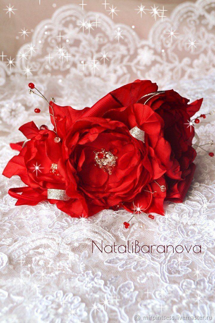 Ободок с цветами из ткани` Розы`.Диадемы, обручи ручной работы. Ярмарка Мастеров - ручная работа. Купить Ободочек с цветами. Handmade. Красный , ободок с цветами,
