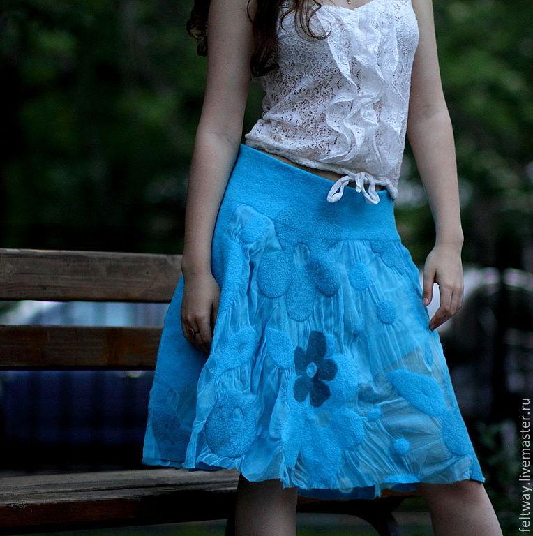 Купить Конспект. Летняя юбка-колокол. Шифон. Префельт. - юбка, юбка летняя, юбка длинная