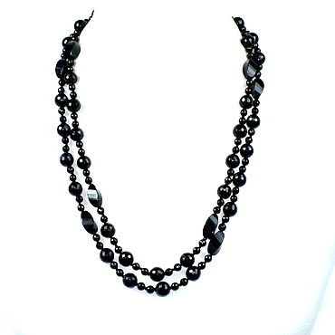 Decorations handmade. Livemaster - original item Long beads natural black agate cut. Handmade.