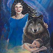 """Картины и панно ручной работы. Ярмарка Мастеров - ручная работа Картина в стиле фентези """"Волк защитник"""". Handmade."""