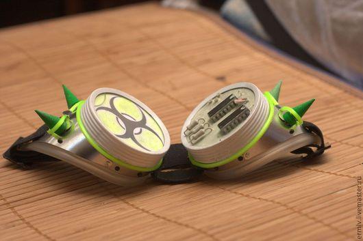 Очки ручной работы. Ярмарка Мастеров - ручная работа. Купить Гогглы (goggles) для киберготов (бело-зеленые). Handmade. Салатовый, очки