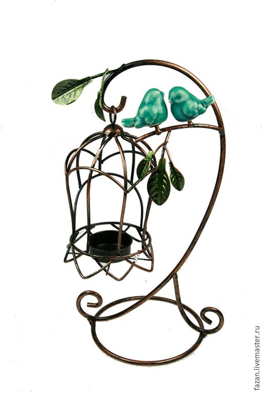 Подсвечник на 1 свечу Бирюзовые Птички