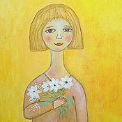 Картины и панно ручной работы. Ярмарка Мастеров - ручная работа Картина   Девочка  с цветами. Handmade.