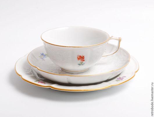 Винтажная посуда. Ярмарка Мастеров - ручная работа. Купить Трио Комплект фарфор чайная чашка и блюдце Деколь Германия, Мейсен. Handmade.