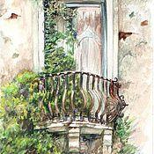 """Картины и панно ручной работы. Ярмарка Мастеров - ручная работа акварель """" Старый балкончик в Тоскане"""". Handmade."""