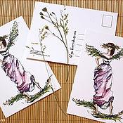 Открытки ручной работы. Ярмарка Мастеров - ручная работа Авторские открытки с образами девушек. Handmade.
