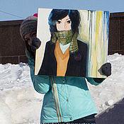 Картины и панно ручной работы. Ярмарка Мастеров - ручная работа АнимЭ девочка мультяшка. Handmade.