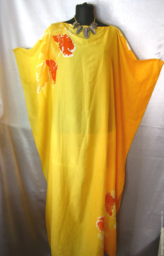 Большие размеры ручной работы. Ярмарка Мастеров - ручная работа. Купить Длинное пляжное платье  желтое. Handmade. Свободное платье