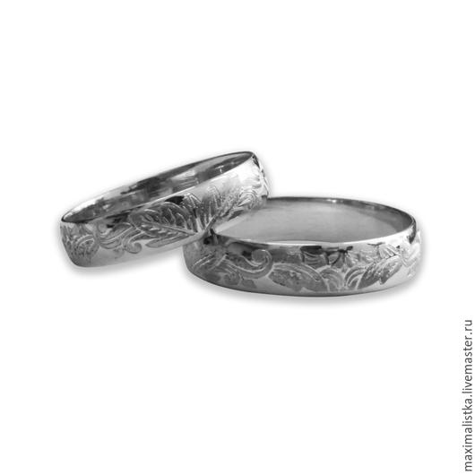 """Кольца ручной работы. Ярмарка Мастеров - ручная работа. Купить Обручальные кольца """"Процветание семьи"""" Золото белое 585. Handmade."""