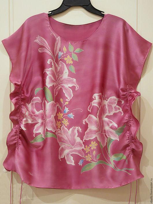 Блузки ручной работы. Ярмарка Мастеров - ручная работа. Купить Шелковая блузка, батик, атлас. Handmade. Комбинированный, блузка шелковая