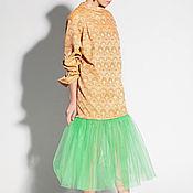 Одежда ручной работы. Ярмарка Мастеров - ручная работа Хлопковое неоновое оранжевое экстравагантное тюль платье на выпускной. Handmade.