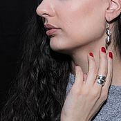Украшения handmade. Livemaster - original item Minima Series Curl ring and earrings in polished silver 9. Handmade.
