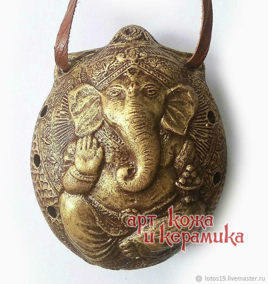 Ganesha. Оcarina, clay tin whistle. Hand made musical instrument, Jew\'s Harp, Krasnoyarsk,  Фото №1