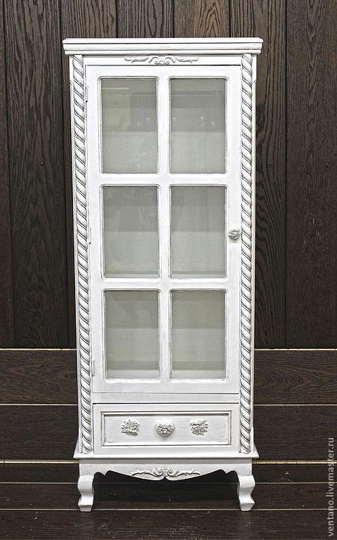 """Мебель ручной работы. Ярмарка Мастеров - ручная работа. Купить Витрина малая """"Розы"""". Handmade. Белый, мебель для гостинной"""