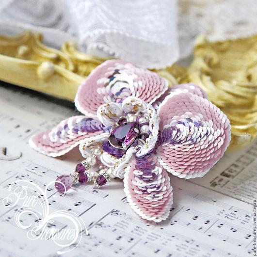 Броши ручной работы. Ярмарка Мастеров - ручная работа. Купить Брошь Endless Blooming, розовая орхидея. Handmade. Розовый, пайетки