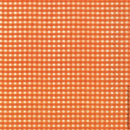 Декупаж и роспись ручной работы. Ярмарка Мастеров - ручная работа. Купить Оранжевая клетка. Салфетка. Handmade. Рыжий, салфетка для декупажа