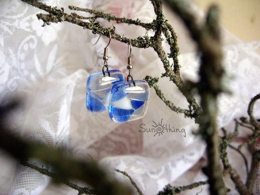 """Серьги ручной работы. Ярмарка Мастеров - ручная работа. Купить Серьги """"Загадка Ледяного озера"""". Handmade. Синий, прозрачные"""