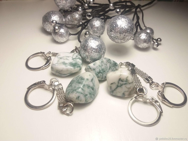 Брелок для ключей из Агата, цвет зелёный с белым, натуральный камень