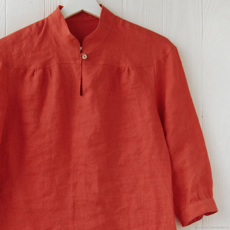 Терракотовая блузка со стойкой из 100% льна, Блузки, Томск,  Фото №1