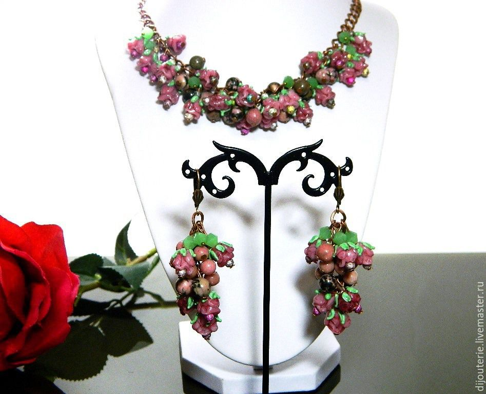 EARRING SET NECKLACES 'NICOLE'. LAMPWORK BEADS, NATURAL STONES, Jewelry Sets, Saratov,  Фото №1