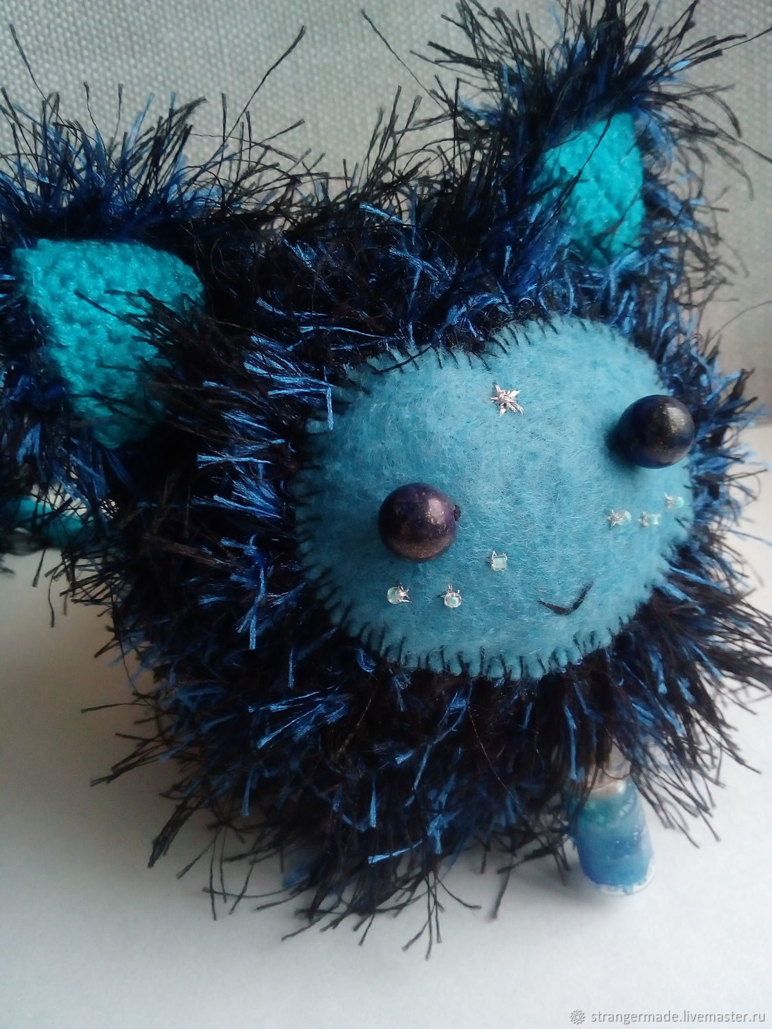 Shile the cute blue fluffy amigurumi monster with cosmo bottle, Stuffed Toys, Ekaterinburg,  Фото №1
