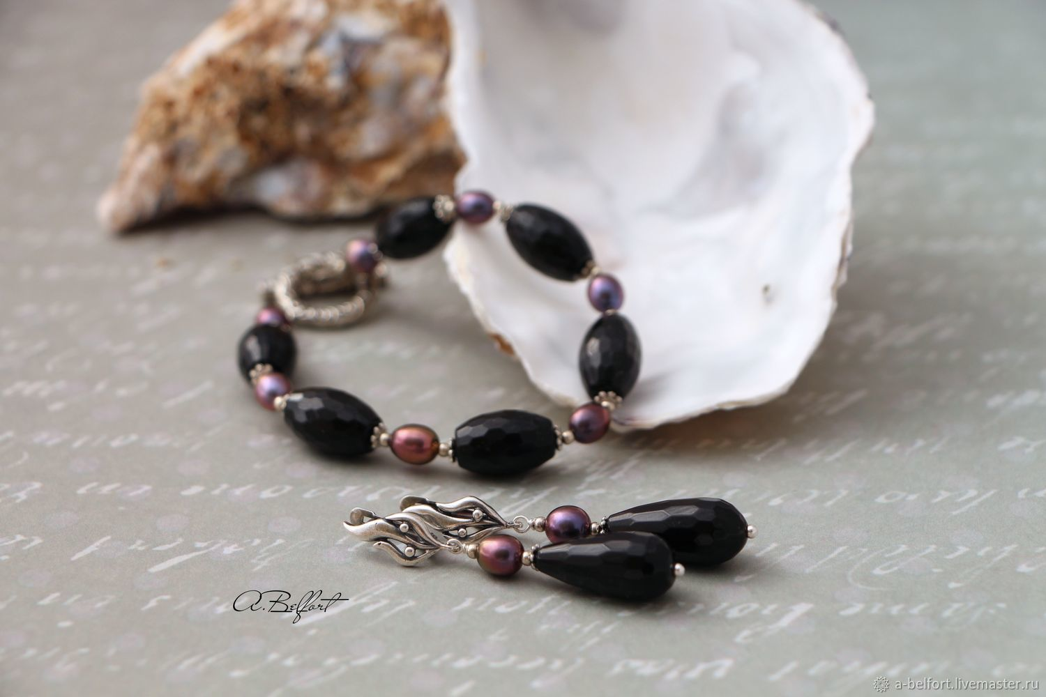 set (bracelet and earrings) with pearl and onyx 'Countess', Jewelry Sets, Omsk,  Фото №1