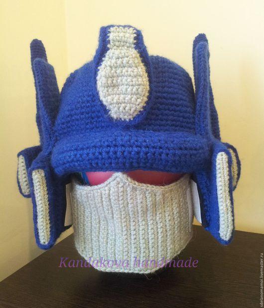 Шапки ручной работы. Ярмарка Мастеров - ручная работа. Купить Шапка-шлем оптимуса прайма. Handmade. Синий, шлем, Трансформер