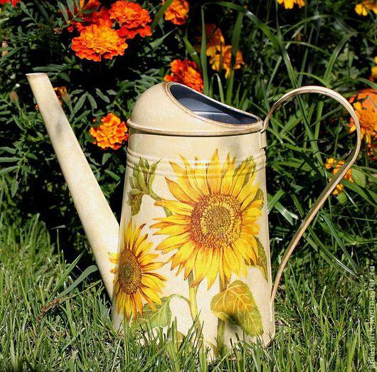 """Лейки ручной работы. Ярмарка Мастеров - ручная работа. Купить Лейка для цветов """"Страна подсолнухов"""". Handmade. Бежевый, желтый, подарок"""