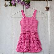 Работы для детей, ручной работы. Ярмарка Мастеров - ручная работа Розовый вязаный сарафан. Handmade.