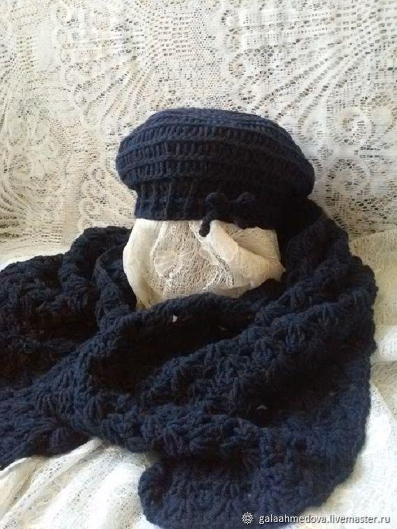 Beret and scarf-Cape'Dark blue' handmade, Headwear Sets, Dmitrov,  Фото №1