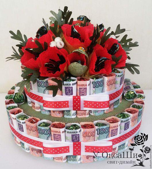 Персональные подарки ручной работы. Ярмарка Мастеров - ручная работа. Купить Денежный торт. Handmade. Ярко-красный, торт из конфет