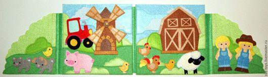 """Развивающие игрушки ручной работы. Ярмарка Мастеров - ручная работа. Купить книжка-игрушка """"Ферма"""". Handmade. Ярко-зелёный, игрушка"""