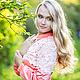 """Блузки ручной работы. Ярмарка Мастеров - ручная работа. Купить """"Фламинго"""" , Блузочка женская с кружевом. Handmade. Разноцветный, блузка, сатин"""