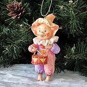 Сувениры и подарки handmade. Livemaster - original item Cotton Christmas toy piggy with a drum. Handmade.