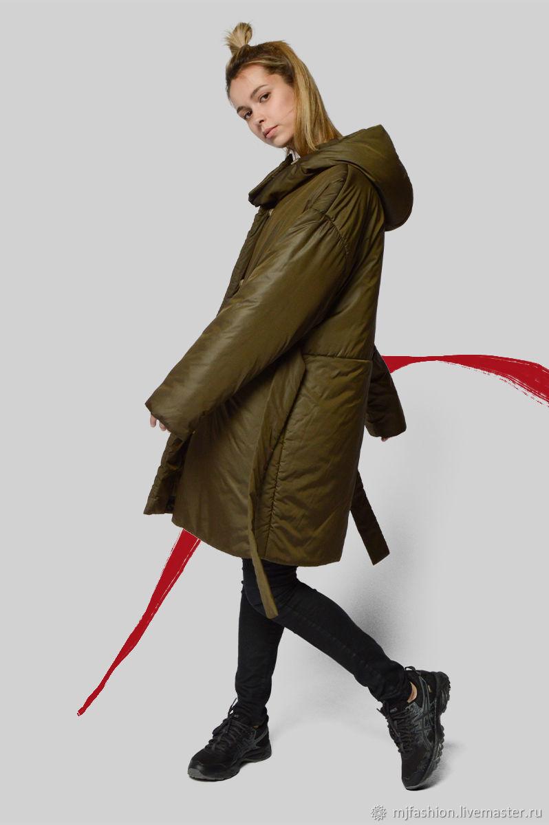 Spring short khaki coat with hood (art. 02-6304), Coats, Omsk,  Фото №1