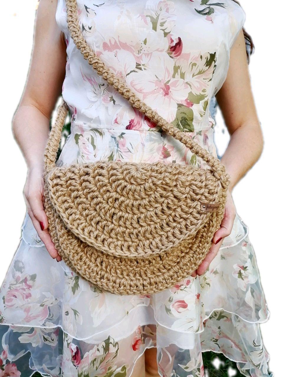 Полукруглая сумка из джута, сумка с клапаном, удобная сумка, Классическая сумка, Лиски,  Фото №1