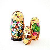 Русский стиль ручной работы. Ярмарка Мастеров - ручная работа Матрёшка малая 3 куклы Ёжики, милая детская игрушка. Handmade.