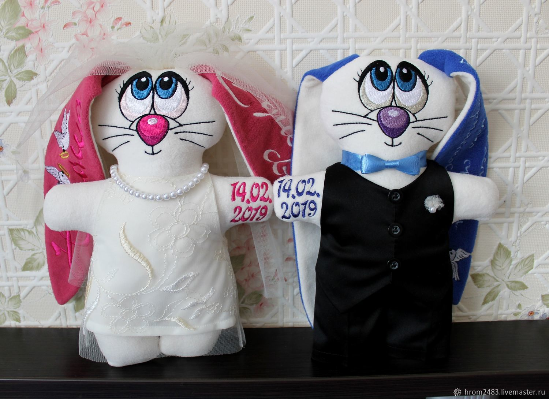 Подарки на свадьбу ручной работы. Ярмарка Мастеров - ручная работа. Купить Свадебные зайцы. Handmade. Машинная вышивка, оригинальный подарок